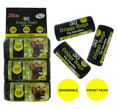 Dog Poo Bags Strong Biodegradable Extra Large Tie Handles Pocket Roll Poop Bags