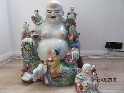 marked Zeng Longsheng Zao Family Rose porcelain large Budai / Buddah