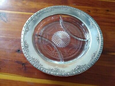 Vintage Wallace Sterling/Crystal DIVIDED PLATTER  4328-9