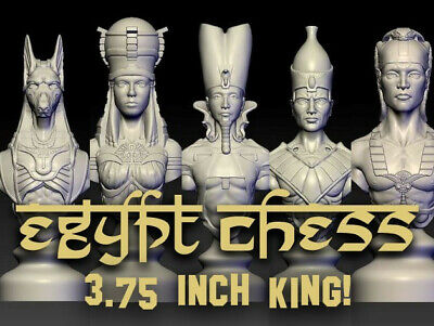 "Egyptian Chess 32- Piece Set! Medium 3.75"" King! Egypt Pharaoh, Knight, Anubis"