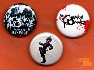"""Set of three 1"""" My Chemical Romance pins buttons Welcome to the Black Parade MCR"""