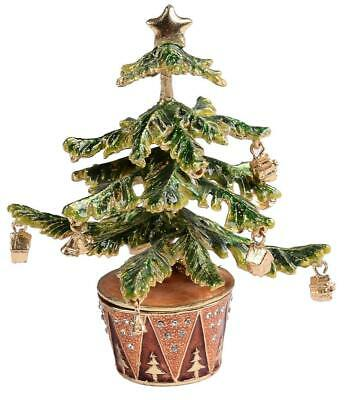 Christmas Tree Shaped Trinket Jewelry Box with Matching Pendant & Necklace