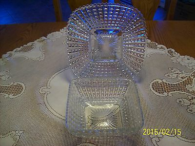Square Cut Pattern Antique Press Glass Crystal Clear Serving Dish & Underplate