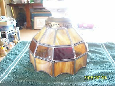 Slag Stained Glass Vintage Ceiling Light Fixture With Porcelain Connection