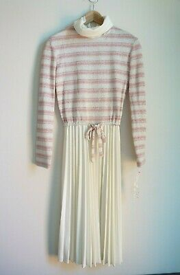 NWT Womens Vintage 1970's Pink Cream Shimmer Dress Pleated Waist Tie Sweater S