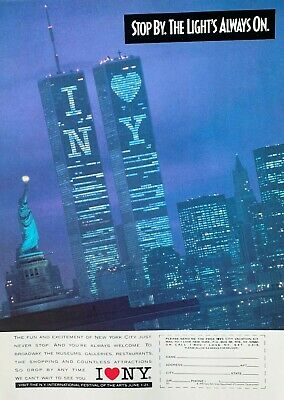 1990 I Love NY Stop By The Light's Always On World Trade Center Vintage PRINT AD