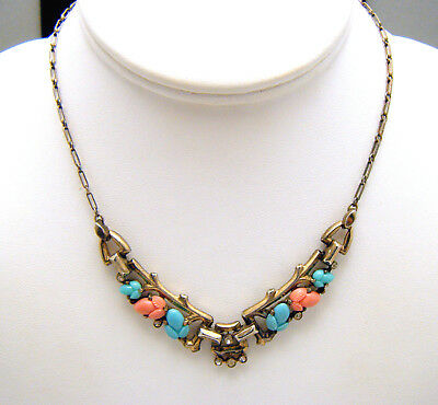 Crown Trifari Fruit Salad Rhinestone Necklace 1940s Coral Turquoise Glass Sterli