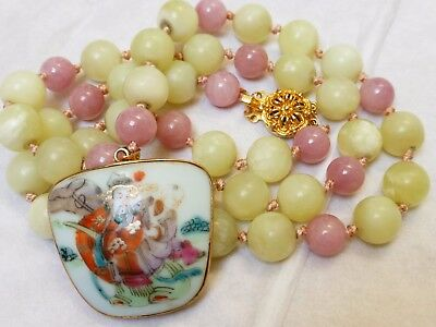 Chinese Vintage Green & Lavender Jade Bead Necklace Pendant Sterling Silver