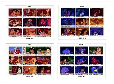 2018 Disney ALADDIN 4 SOUVENIR SHEETS MNH UNPERFORATED cartoons animation
