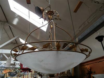 Large Modern French Design Wrought Iron & Leaves Basket & Frosted Light Pendant