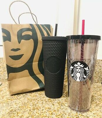 Starbucks Black Studded & Spiderweb Glitter Tumbler Cup Set Halloween 2019 RARE