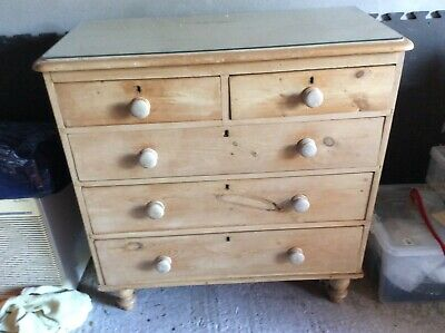 Old Antique Solid Pine Chest of Drawers