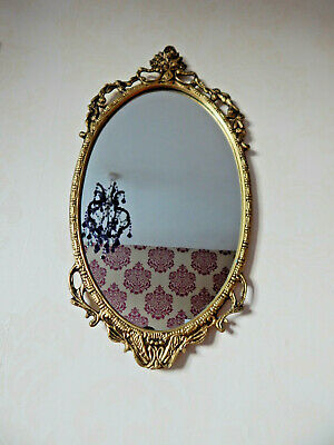 Beautiful Rococo Baroque Style Wall Mirror Heavy Gold Gilt Oval Ornate Vintage