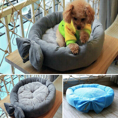 Warm Winter Round Bed Bowknot Mats Puppy Luxury Princess Kennels