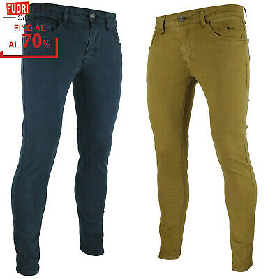 Pantaloni uomo slim fit elasticizzati casual chino colorati