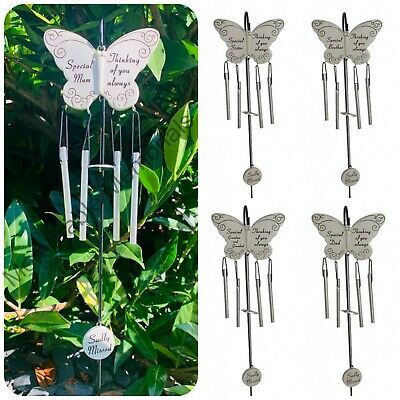 Butterfly Memorial Wind Chime Tribute Plaque Ornament Graveside Remembrance