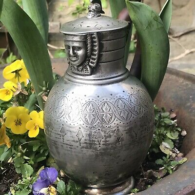 ANTIQUE SILVER PLATE VICTORIAN JUG Quality Wine Egyptian Revival Walker & Hall