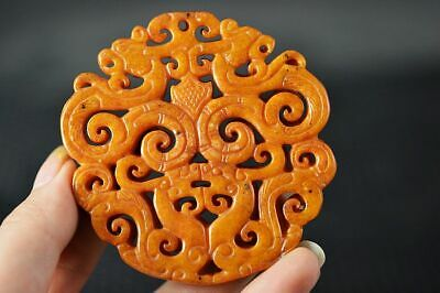Delicate China Old Jade Hand Carved *Dragon/Phoenix* Pendant Z3