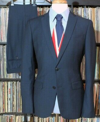 Slim Fit Zara Man Blue Birdseye Retro Mens 2 PC Flat Front Suit 38R 34W 32L