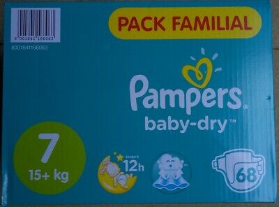 LOT DE 68 COUCHES PAMPERS BABY DRY Taille 7 ( 15+kg) NEUF