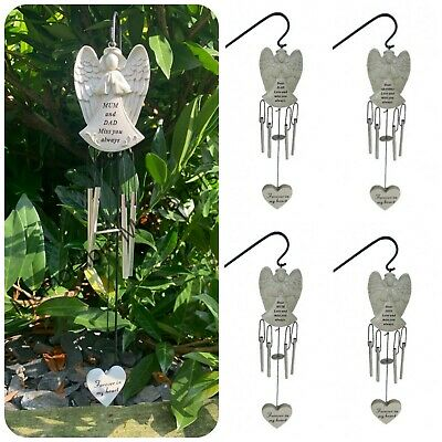 Angel Shaped Memorial Wind Chime Tribute Plaque Ornament Graveside Remembrance