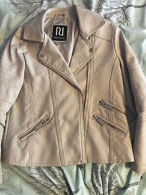 Girls River Island Cream Leather Coat Age 7