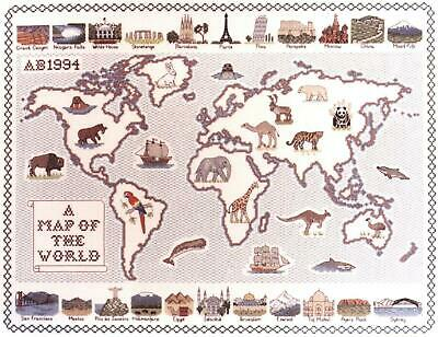 Map of The World - Classic 14ct Counted Cross Stitch Kit