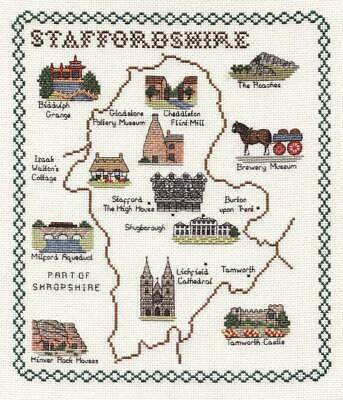 Map and Sights of Staffordshire - Classic 14ct Counted Cross Stitch Kit