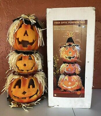 Fiber Optic Pumpkin Halloween Decoration Light Jack O Lantern