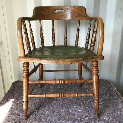 Late 19th Century Oak Spindleback Office Chair - Leather Seat Tub Captain Chair