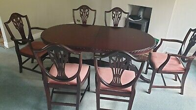 Vintage John E Coyle Solid Mahogany Rope Edge Extending Dining Table & 6 Chairs