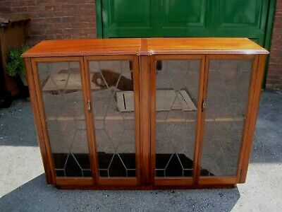 Art Deco  Mahogany Display cabinet/ Book case with leaded glass doors circa 1920