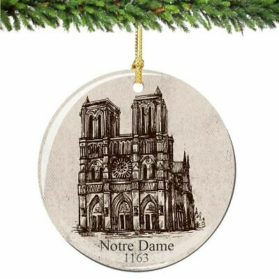 Notre Dame Christmas Ornament Porcelain Double Sided