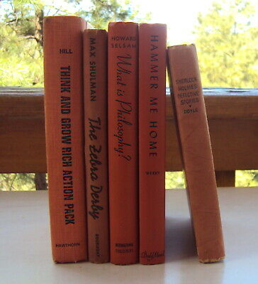 Lot of 5 Old ORANGE Distressed Shabby Farmhouse Books Vintage Display Decor
