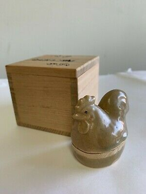 Antique Japanese TEA CEREMONY / KOGO INCENSE CONTAINER / ROOSTER