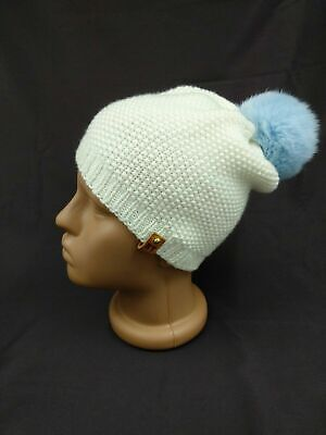 Hand Knit Kids Spring Hat Merino Wool Girls Boys Pompon Beanie White Kids Cap