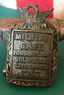 Vintage Solid brass/bronze milners safe key hole cover Sign Key Cover Escutche