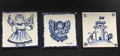 "Lot of 3 Azupal Pombal Tiles ~ 4 1/4"" Hand Painted Blue and White Angel Castle"