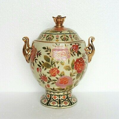 "Vintage Vase With Lid Flowers Gold Gilt Chinese Ceramic Decorative 9 3/4"" H"