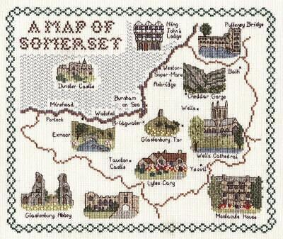 Map and Sights of Somerset - Classic 14ct Counted Cross Stitch Kit