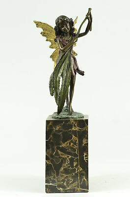 Bronze Sculpture Statue Mythical Fairy Handmade Marble Base Figure Figurine