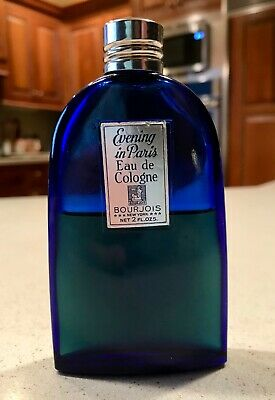 Vintage EVENING in PARIS Cologne BOURJOIS  2 oz. Cobalt Blue Bottle 50% FULL