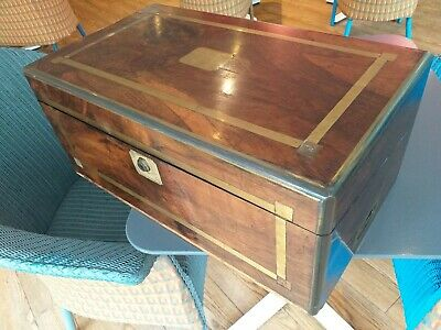 ANTIQUE LARGE campaign WALNUT wood VICTORIAN writing slope WOODEN BOX drawer
