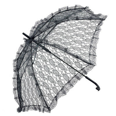 Adult Ladies Victorian Black Lace Parasol Fancy Dress Steampunk Accessory