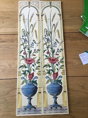 Panel of 10 x used Stovax Reproduction Fireplace Tiles Spares And Repairs