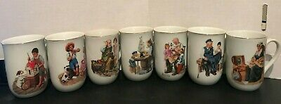 Vintage Norman Rockwell Museum Collection 1982 Set of 7 Coffee Cups Mugs
