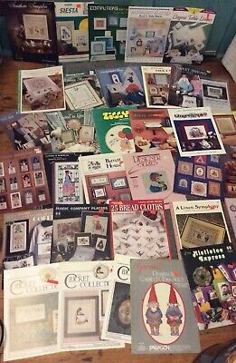 Huge Lot 34 Counted Cross stitch Patterns Vintage Samplers Leisure Arts Etc