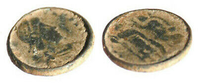 Byzantine coin weight 0.5 Nomisma Overstruck at late Roman AE3 coin