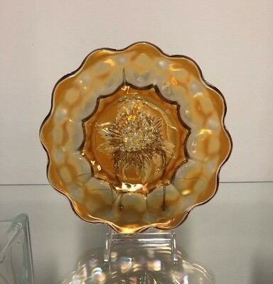 Vintage Carnival Glass Imperial Glass Heavey Grape Plate in Marigold