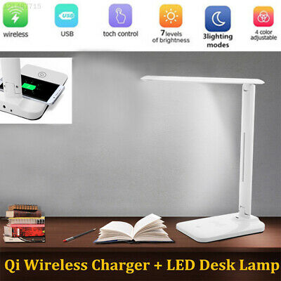 QI Wireless Charger Reading Light Eye-Care Night Lamp Portable LED Booklight